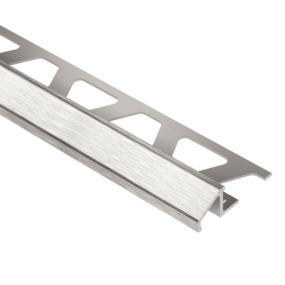 Reno-TK Brushed Nickel Anodized Aluminum 5/16 in. x 8 ft. 2-1/2 in. Metal Reducer Tile Edging Tri...