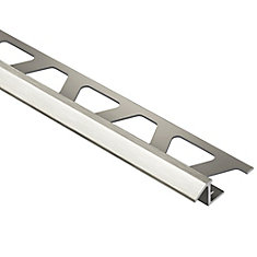 Reno-TK Brushed Nickel Anodized Aluminum 3/8 in. x 8 ft. 2-1/2 in. Metal Reducer Tile Edging Trim