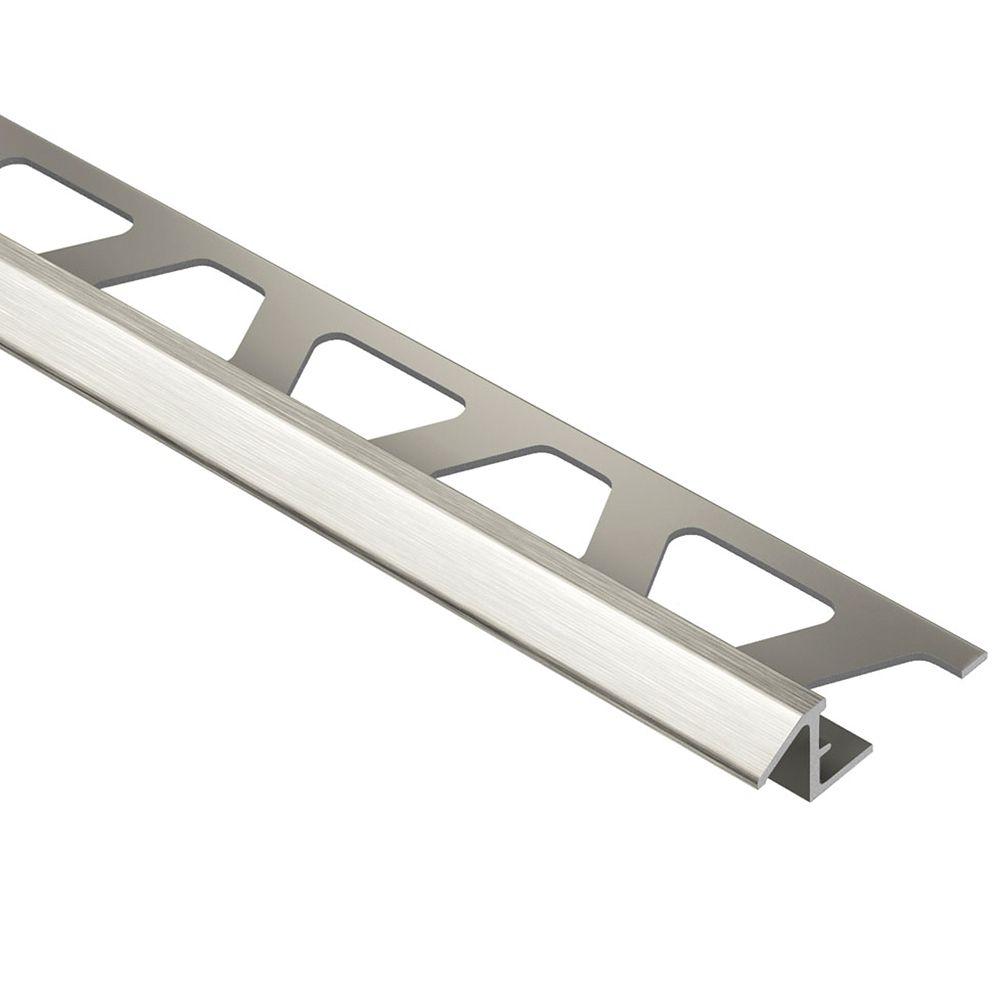Reno-TK Brushed Nickel Anodized Aluminum 3/8 in. x 8 ft. 2-1/2 in. Metal Reducer Tile Edging Trim