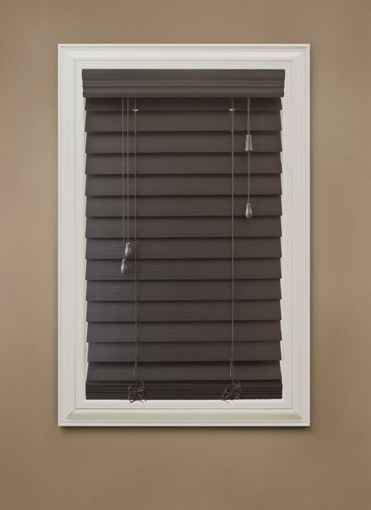 Home Decorators Collection 18 In X 72 In Espresso 2 5 Premium Faux Wood Blind The Home