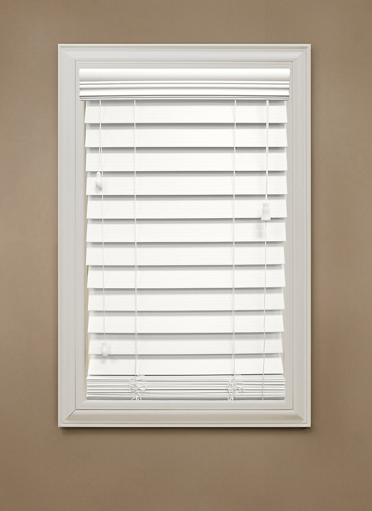 """18 in. x 72 in. White 2.5"""" Premium Faux Wood Blind"""