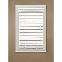 """Home Decorators Collection 18 in. x 72 in. White 2.5"""" Premium Faux Wood Blind"""