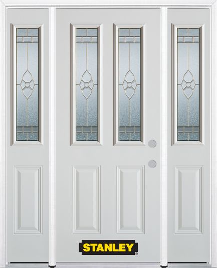 66-inch x 82-inch Marguerite 2-Lite 2-Panel White Steel Entry Door with Sidelites and Brickmould