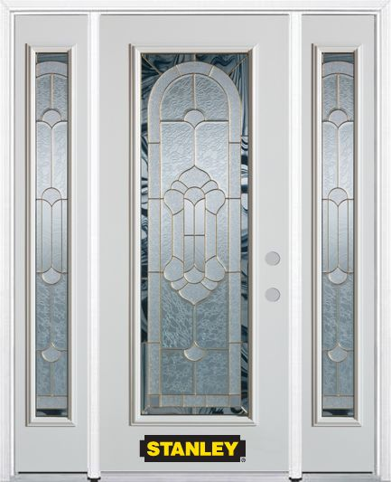 64-inch x 82-inch Radiance Full Lite Finished White Steel Entry Door with Sidelites and Brickmoul...