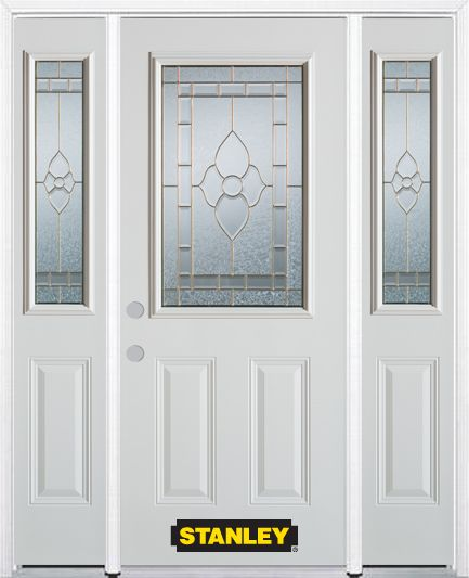 64-inch x 82-inch Marguerite 1/2-Lite 2-Panel White Steel Entry Door with Sidelites and Brickmoul...