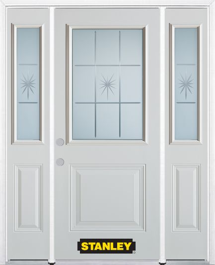 66-inch x 82-inch Beaujolais 1/2-Lite 1-Panel White Steel Entry Door with Sidelites and Brickmoul...