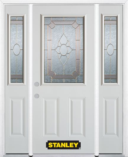 66-inch x 82-inch Rochelle 1/2-Lite 2-Panel White Steel Entry Door with Sidelites and Brickmould