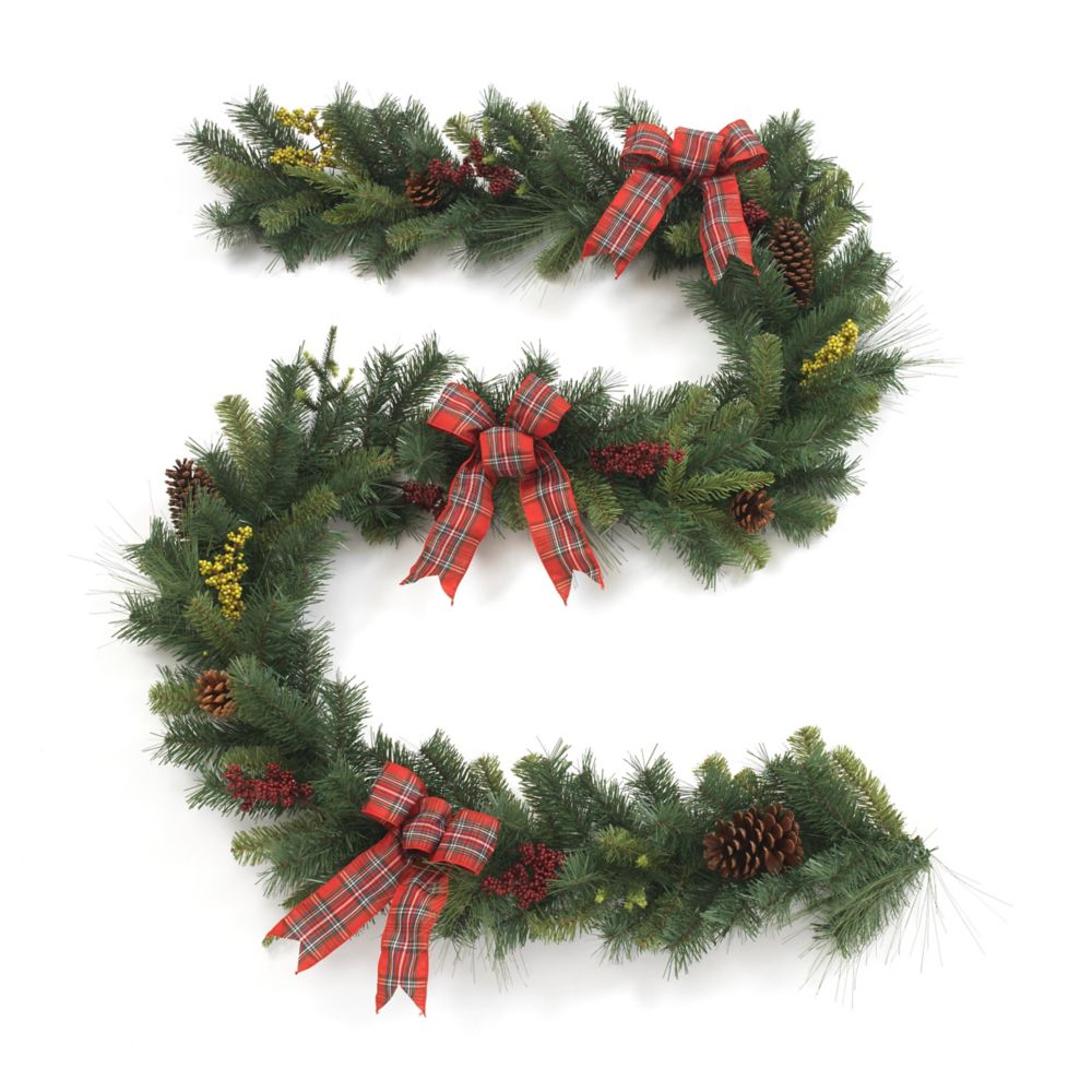 Home Accents Holiday 108-inch Pinecone Berry Garland with Plaid Ribbon
