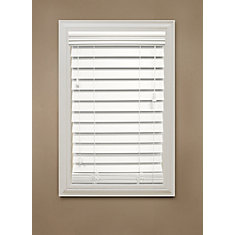 Home Decorators Collection 48 In X 48 In White 2 5 Premium Faux Wood Blind The Home Depot