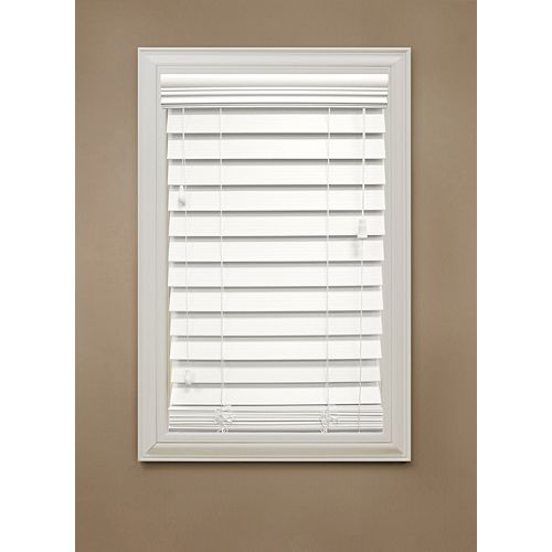 "Home Decorators Collection 48 in. x 48 in. White 2.5"" Premium Faux Wood Blind"