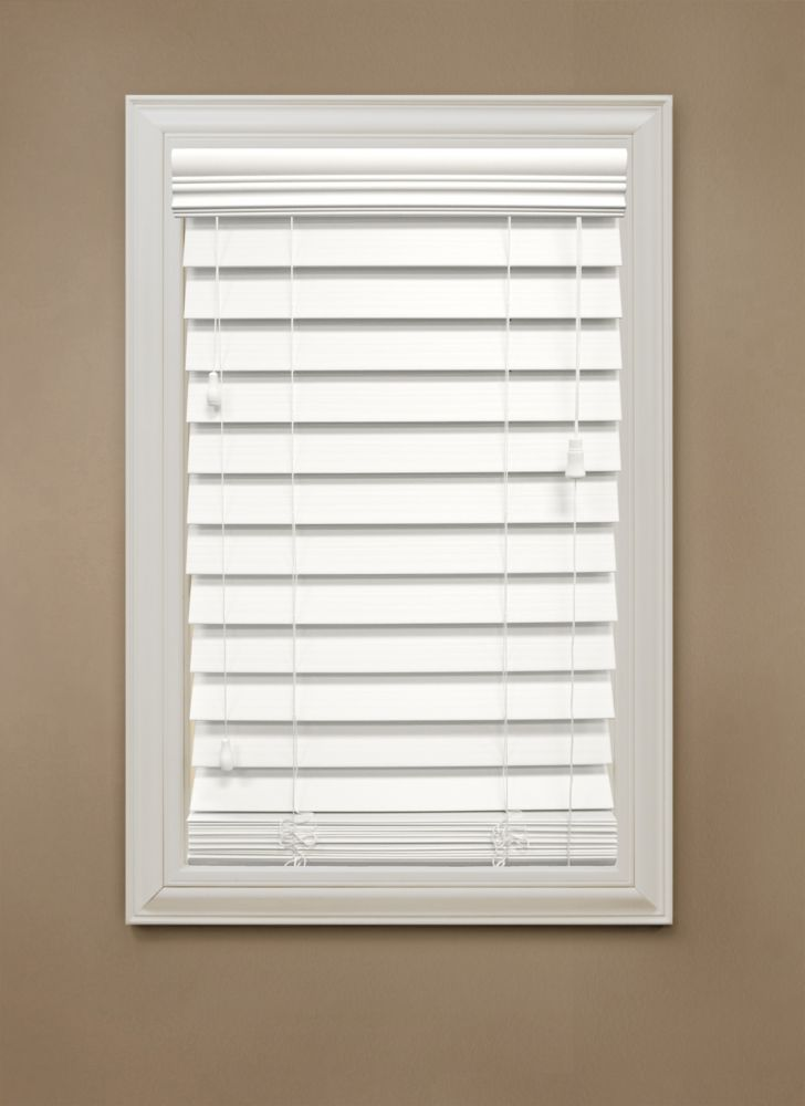 "54 in. x 48 in. White 2.5"" Premium Faux Wood Blind"