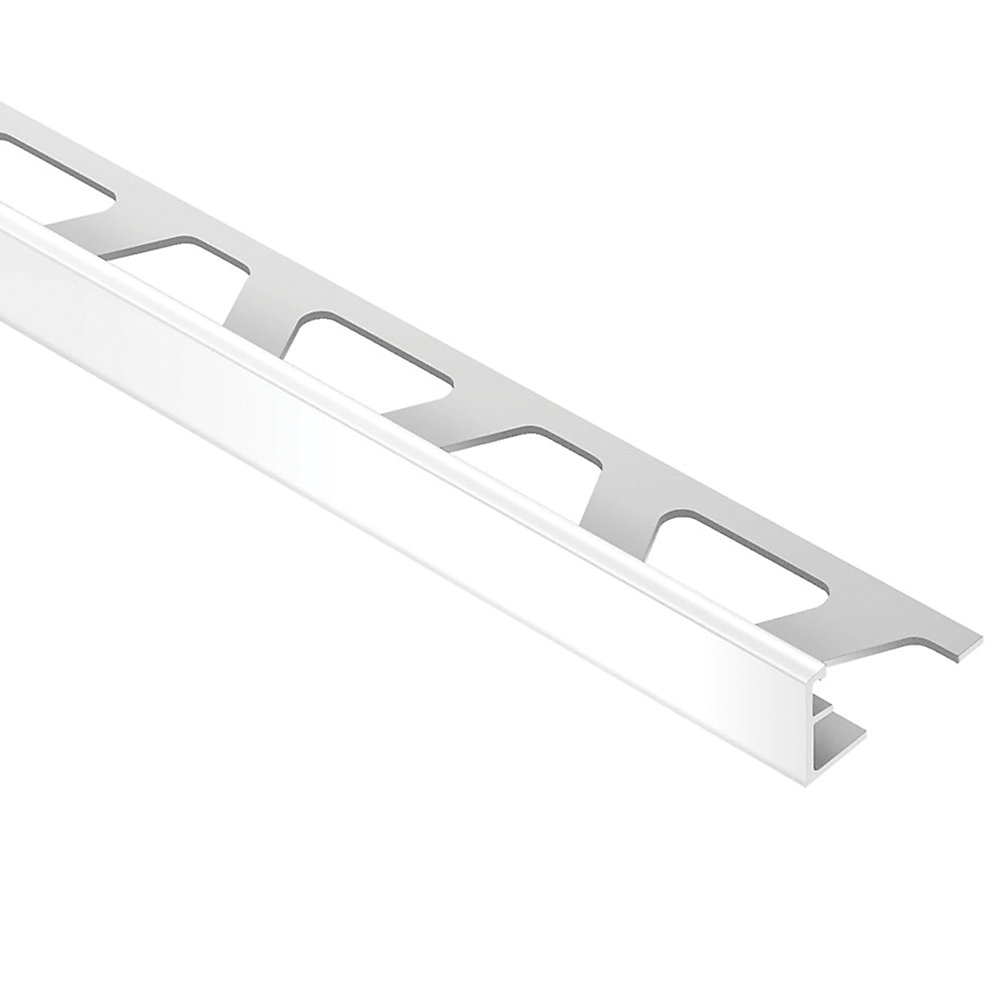 Jolly Bright White 3/8 in. x 8 ft. 2-1/2 in. PVC L-Angle Tile Edging Trim