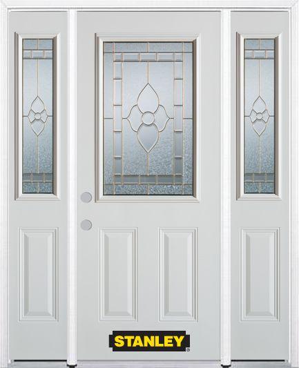 Porte dentrée en acier préfini en blanc, munie de deux panneaux et dun 1/2 verre, 66 po x 82 po a...