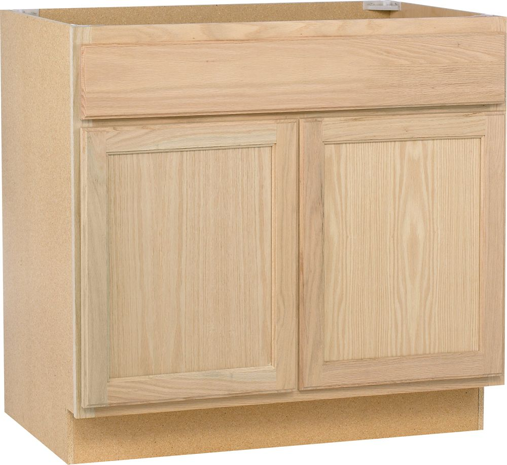 Unbranded unfinished oak 36 inch sink base the home for Kitchen cabinets 36 inch