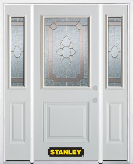 66-inch x 82-inch Rochelle 1/2-Lite 1-Panel White Steel Entry Door with Sidelites and Brickmould