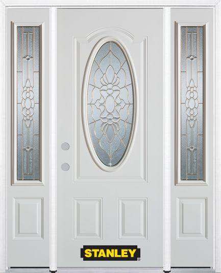 Porte dentrée en acier préfini en blanc, munie dun 3/4 verre ovale, 66 po x 82 po avec panneaux l...