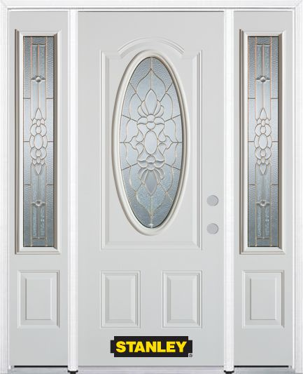 68 In. x 82 In. 3/4 Oval Lite Pre-Finished White Steel Entry Door with Sidelites and Brickmould 1109D-2ESL-36-L in Canada