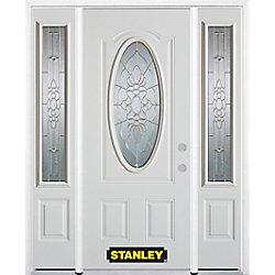 Stanley Doors Porte dentrée en acier préfini en blanc, munie dun 3/4 verre ovale, 68 po x 82 po avec panneaux latéraux et moulure de brique
