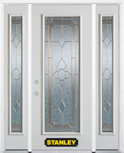 64-inch x 82-inch Rochelle Full Lite Finished White Steel Entry Door with Sidelites and Brickmoul...