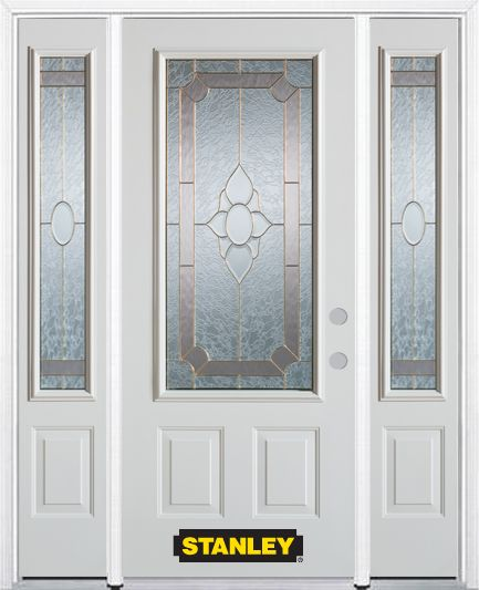 68-inch x 82-inch Rochelle 3/4-Lite 2-Panel White Steel Entry Door with Sidelites and Brickmould
