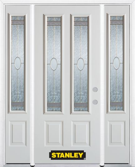68-inch x 82-inch Rochelle 2-Lite 2-Panel White Steel Entry Door with Sidelites and Brickmould