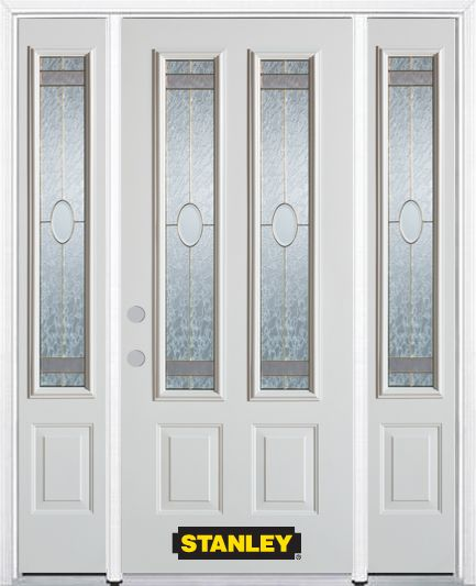 64-inch x 82-inch Rochelle 2-Lite 2-Panel White Steel Entry Door with Sidelites and Brickmould