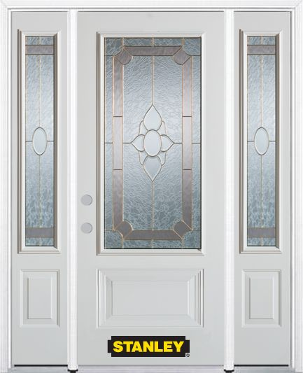 Stanley Doors 66.5 inch x 82.375 inch Rochelle Brass 3/4 Lite 1-Panel Prefinished White Right-Hand Inswing Steel Prehung Front Door with Sidelites and Brickmould