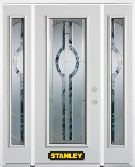 68-inch x 82-inch Stephany Full Lite Finished White Steel Entry Door with Sidelites and Brickmoul...