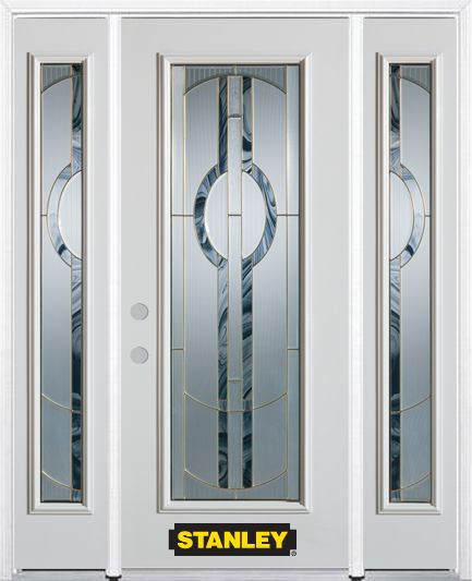 66-inch x 82-inch Stephany Full Lite Finished White Steel Entry Door with Sidelites and Brickmoul...