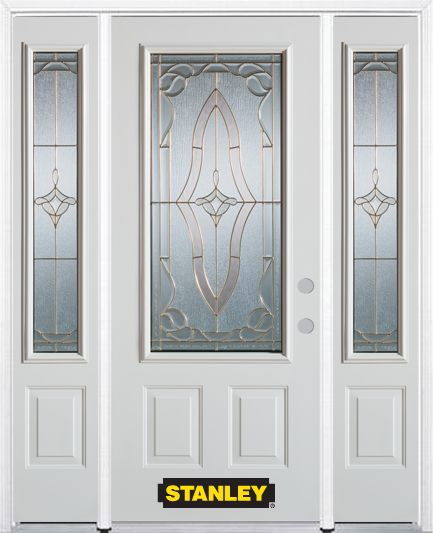 68-inch x 82-inch Florence 3/4-Lite 2-Panel White Steel Entry Door with Sidelites and Brickmould