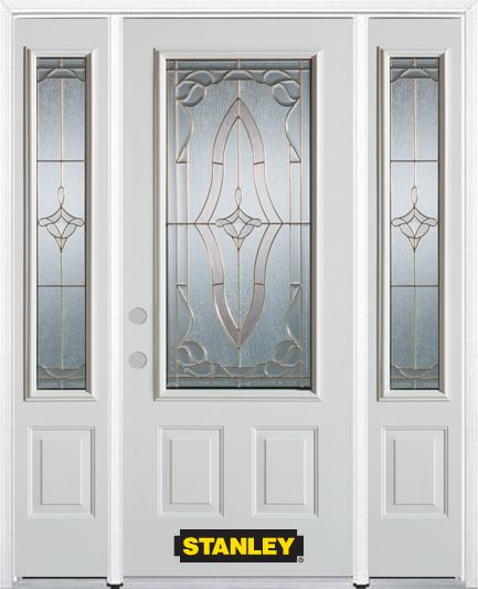 66-inch x 82-inch Florence 3/4-Lite 2-Panel White Steel Entry Door with Sidelites and Brickmould