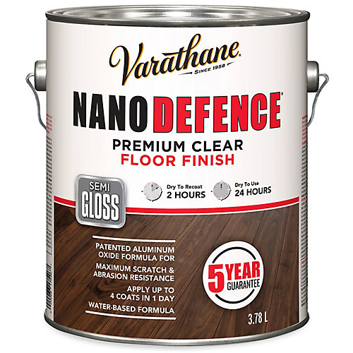 Nano Defence Premium Clear Floor Finish In Semi-Gloss Clear, 3.78 L