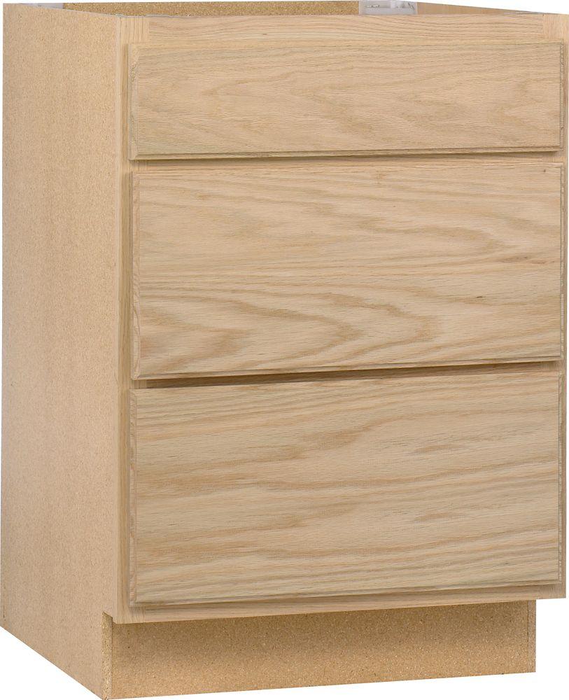 Chêne non fini 24 po &#x3b; Cabinet bas de tiroir