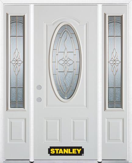 Porte dentrée en acier préfini en blanc, munie dun 3/4 verre ovale, 68 po x 82 po avec panneaux l...