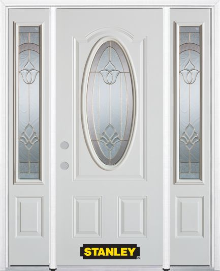66-inch x 82-inch Marilyn Oval 3/4-Lite White Steel Entry Door with Sidelites and Brickmould