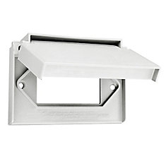 Decora Single Gang Weather-Resistant Horizontal wall plate w/Cover, White