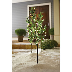 60 Light PE Tips with Pine Cone Twig Stakes