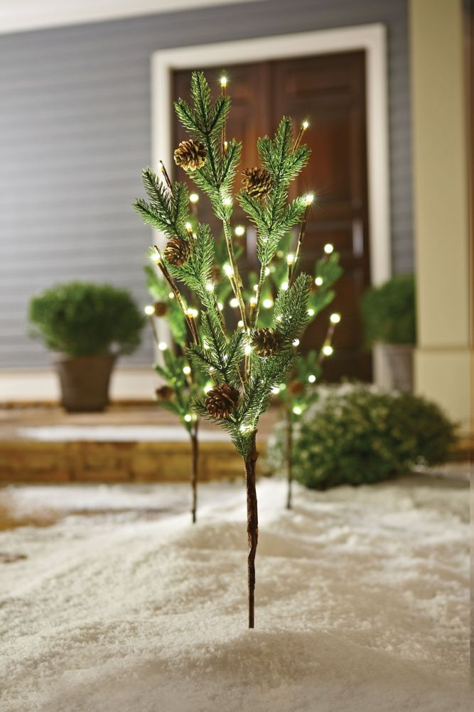 Home Accents Holiday 60 Light PE Tips with Pine Cone Twig Stakes