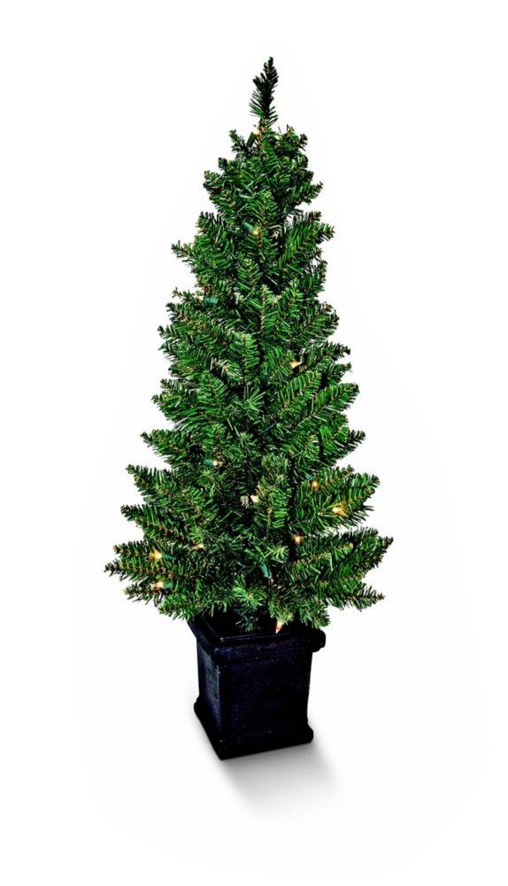 Ensemble de deux arbres de Noël en pot avec lumières intégrées, 106 cm (42 po)