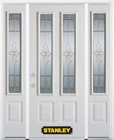 Stanley Doors 66.5 inch x 82.375 inch Trellis Brass 2-Lite 2-Panel Prefinished White Right-Hand Inswing Steel Prehung Front Door with Sidelites and Brickmould