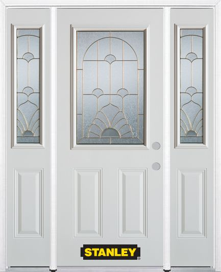 64-inch x 82-inch Florentine 1/2-Lite 2-Panel White Steel Entry Door with Sidelites and Brickmoul...