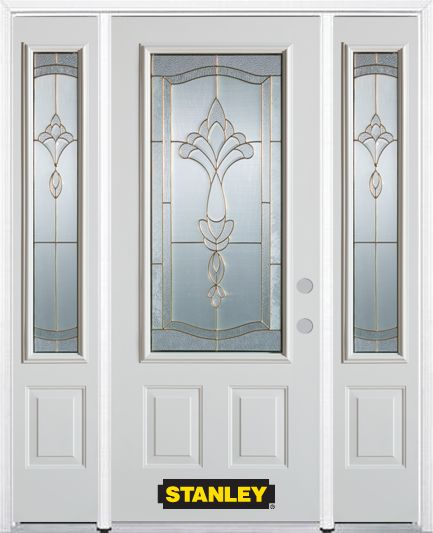 68-inch x 82-inch Karina 3/4-Lite 2-Panel White Steel Entry Door with Sidelites and Brickmould