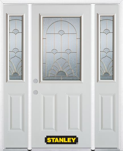 66-inch x 82-inch Florentine 1/2-Lite 2-Panel White Steel Entry Door with Sidelites and Brickmoul...