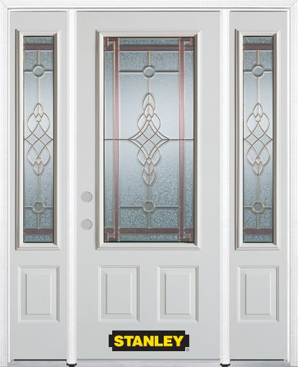 64-inch x 82-inch Milano 3/4-Lite 2-Panel White Steel Entry Door with Sidelites and Brickmould