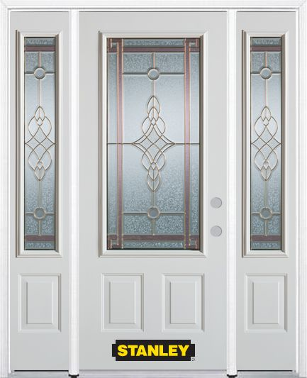 66-inch x 82-inch Milano 3/4-Lite 2-Panel White Steel Entry Door with Sidelites and Brickmould