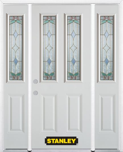 64 In. x 82 In. 2-Lite 2-Panel Pre-Finished White Steel Entry Door with Sidelites and Brickmould 1410SSL2-2SSL-32-R in Canada