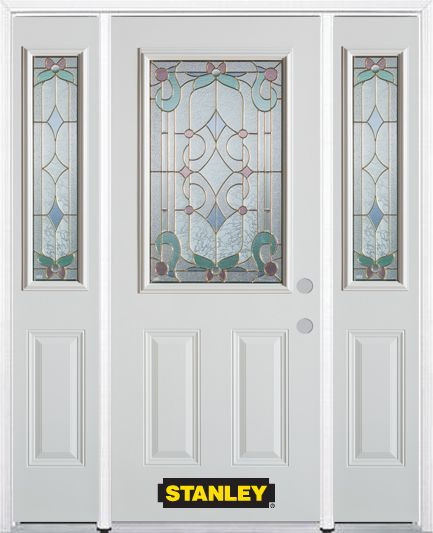 64-inch x 82-inch Aristocrat 1/2-Lite 2-Panel White Steel Entry Door with Sidelites and Brickmoul...