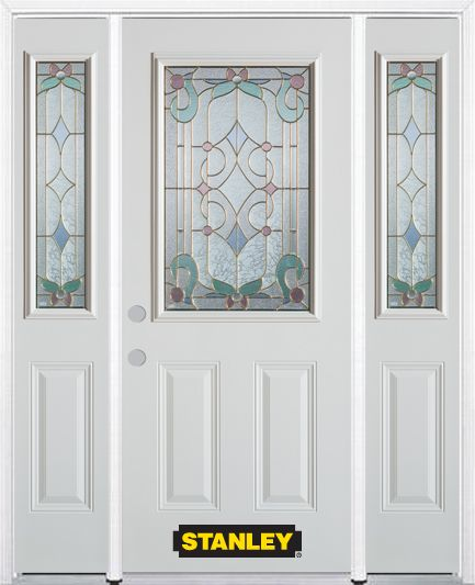 Stanley Doors 64.5 inch x 82.375 inch Aristocrat Brass 1/2 Lite 2-Panel Prefinished White Right-Hand Inswing Steel Prehung Front Door with Sidelites and Brickmould