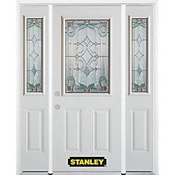 Stanley Doors Porte dentrée en acier préfini en blanc, munie de deux panneaux et dun 1/2 verre, 68 po x 82 po avec panneaux latéraux et moulure de brique