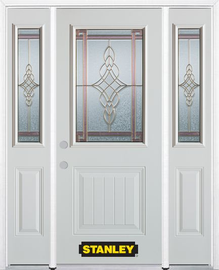 64-inch x 82-inch Milano 1/2-Lite 1-Panel White Steel Entry Door with Sidelites and Brickmould